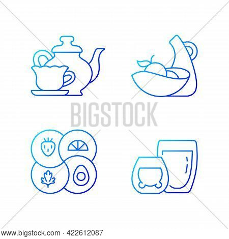 Trendy Kitchenware Gradient Linear Vector Icons Set. Sectional Plate And Divided Dish. Vintage Style
