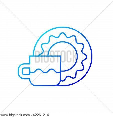 Cup And Saucer Set Gradient Linear Vector Icon. Dinning Accessories For Tea Party. Container For Dri