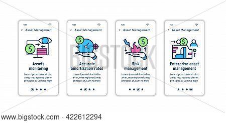 Asset Management Onboarding Mobile App Screens.monitoring, Amortization Rates, Enterprise Management