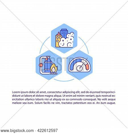 Burning Fossil Fuels Concept Line Icons With Text. Ppt Page Vector Template With Copy Space. Brochur