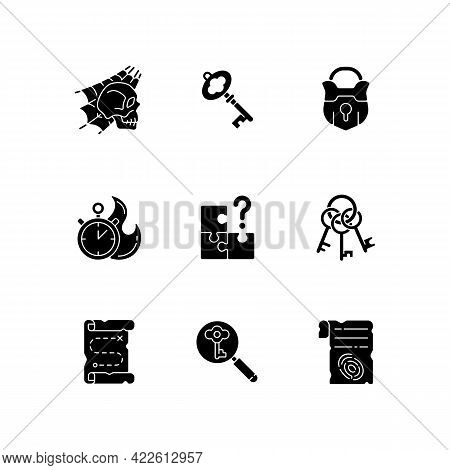 Quest Black Glyph Icons Set On White Space. Search For Missing Piece. Keys For Unlocking Door To Esc