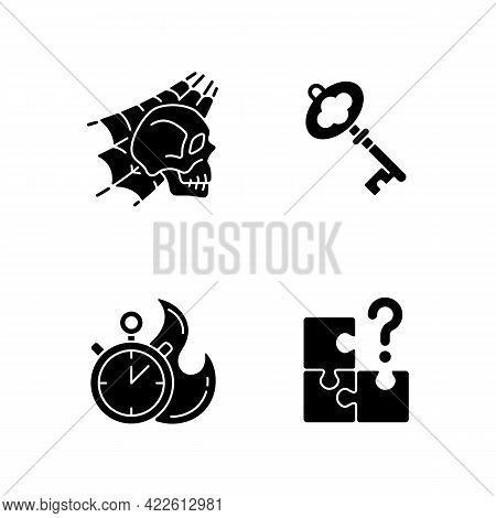 Quest Room Black Glyph Icons Set On White Space. Skull With Spider Web. Find Missing Part. Part Of M