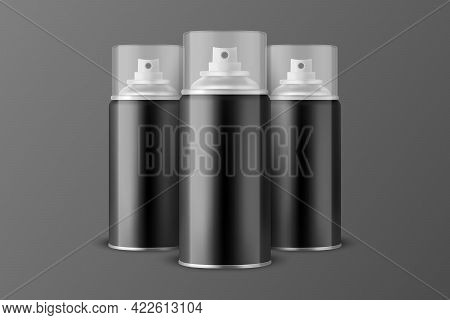 Three Vector 3d Realistic Black Aluminum Blank Spray Can, Bottle, Transparent Lid Isolated. Small, M