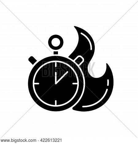Time Limit Black Glyph Icon. Fast Procedure. Urgent Task. Timer With Alarm. Solving Puzzles With Cou