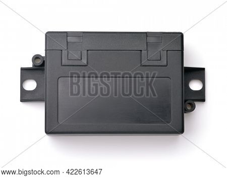 Top view of abstract electronics module isolated on white