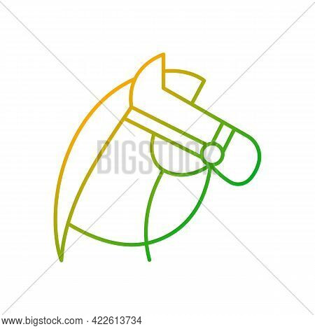 Horseback Riding Gradient Linear Vector Icon. Equestrian Sport. Stretching Muscles. Racing And Jumpi
