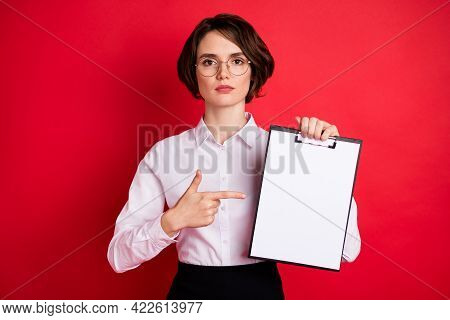 Photo Of Serious Businesswoman In Glasses Point Finger Organizer Attention Announcement Isolated On