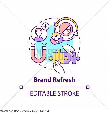 Brand Refresh Concept Icon. Brand Change Type Abstract Idea Thin Line Illustration. Redefining Produ