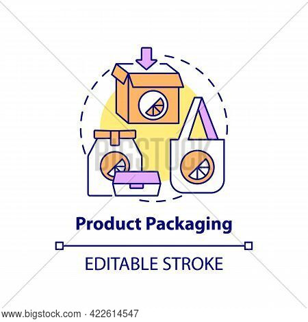 Product Packaging Concept Icon. Corporate Branding Touchpoint Abstract Idea Thin Line Illustration.