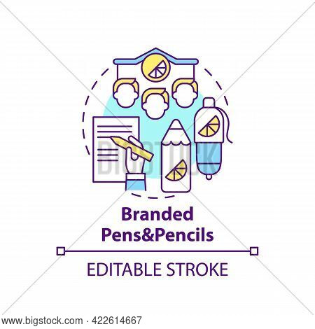 Branded Pens And Pencils Concept Icon. Corporate Branding Material Abstract Idea Thin Line Illustrat