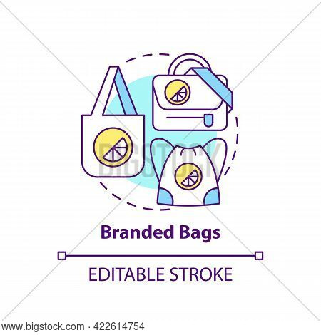 Branded Bags Concept Icon. Corporate Branding Material Abstract Idea Thin Line Illustration. Backpac