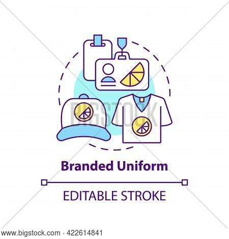 Branded Uniform Concept Icon. Corporate Branding Material Abstract Idea Thin Line Illustration. Pers