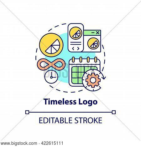 Timeless Logo Concept Icon. Logotype Design Abstract Idea Thin Line Illustration. Palatable Logo To