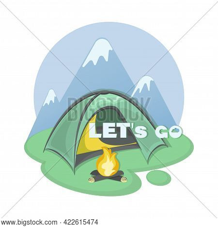 Tourist Parking. Vector Tent. Mountain Tourism. Icon, Emblem. Invitation Will Go To The Mountains.