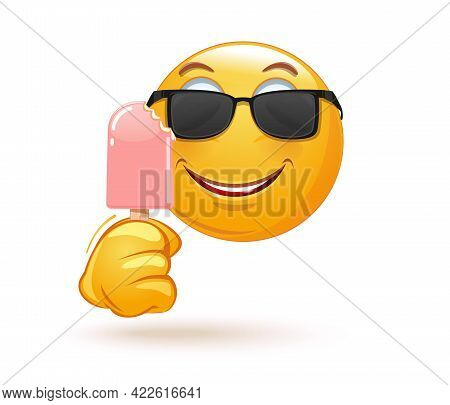 Emoji In Sunglasses Holding A Bitten Off Ice Cream On A Stick. Happy Emoticon Face Eating Ice Cream.