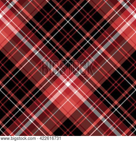 Seamless Pattern In Red, Black And White Colors For Plaid, Fabric, Textile, Clothes, Tablecloth And