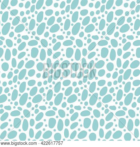 Seamless Pattern - Simple Pebble Cobblestone Background On White Background. Hand Drawn Isolated Fla