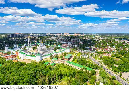 Russian Orthodox Architecture. Aerial Drone View Of The Trinity Lavra Of St Sergius In Sergiev Posad