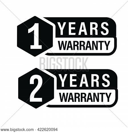 1 Year Warranty, 2 Year Warranty Icon Set, Black In Color