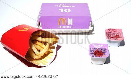 Kuala Lumpur, Malaysia- Circa May, 2021: High Key Picture Of Mcdonald The Bts Meal Set With Cajun An