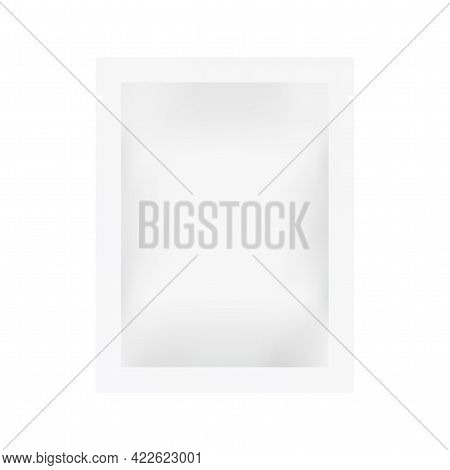 Sachet Mockup Isolated On White Backdrop. Realistic Light Packet. Closed Pouch Template. White Produ