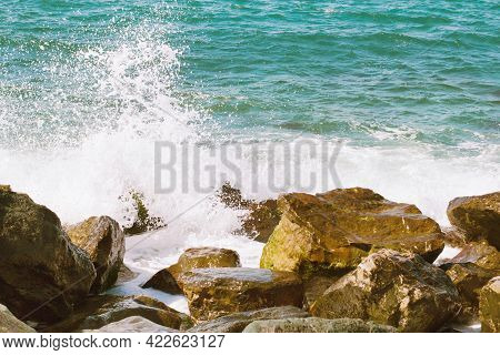 Blue Waves Break On The Rocks On The Seashore, Warm Shades