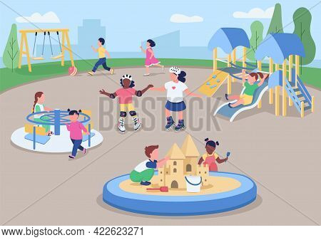 Outdoor Playground Flat Color Vector Illustration. Kids Having Fun Outside. Preschoolers Playing Tog