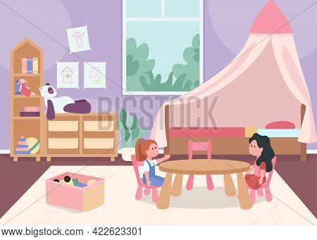 Child Bedroom For Female Toddler Flat Color Vector Illustration. Cozy Home Space For Children. Playr