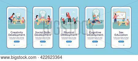 Children Development Onboarding Mobile App Screen Flat Vector Template. Walkthrough Website 5 Steps