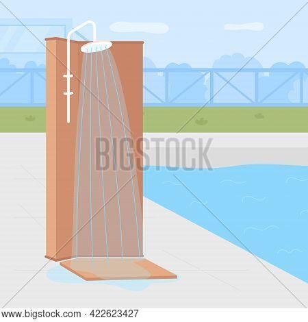 Poolside Backyard Shower Flat Color Vector Illustration. Recreational Water Illnesses Prevention. Re