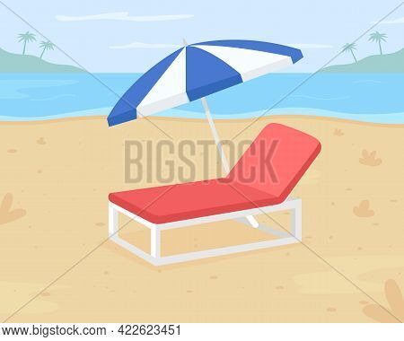 Relaxing Beach Vacation Flat Color Vector Illustration. Beach Destination. Outdoor Chair For Sandy S