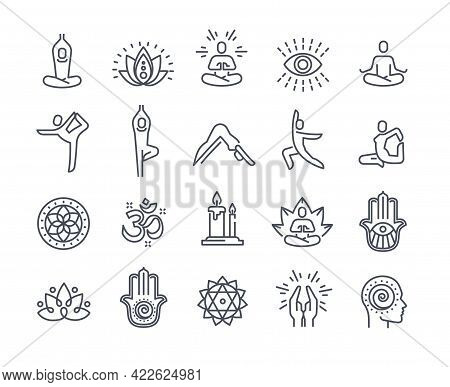 Yoga And Meditation Practice Vector Line Icons. Relaxation, Asana Practice, Self-knowledge, Inner Co