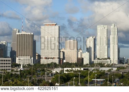 The Morning View Of Miami Downtown Skyscrapers Under Cloudy Sky (florida).