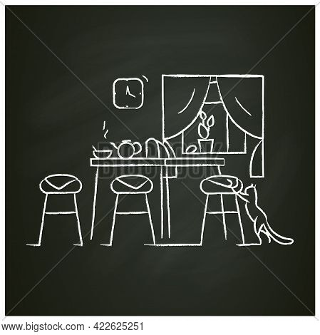 Kitchen Interior Chalk Icon.morning In Kitchen Room With Teapot On Table And Cat.home And Domestic H
