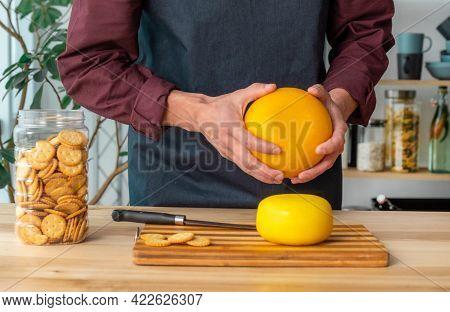 Cheese Edam Hand Kitchen Man Hold Old Whole Dutch Holland Goat