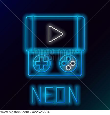 Glowing Neon Line Portable Video Game Console Icon Isolated On Black Background. Gamepad Sign. Gamin