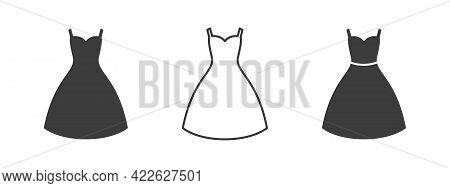 Dress Icon. Women Dress Design. Clothes Icons Modern Style. Vector Illustration