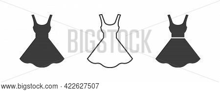 Dress Icon. Women Dress Icons. Clothes Icons Modern Style. Vector Illustration