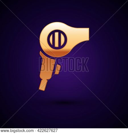 Gold Hair Dryer Icon Isolated On Black Background. Hairdryer Sign. Hair Drying Symbol. Blowing Hot A