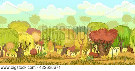 Autumn Forest. Green, Yellow And Red Plants. Edge With Grass. Glade And Meadow. Seamless.beautiful A