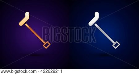Gold And Silver Walking Stick Cane Icon Isolated On Black Background. Vector