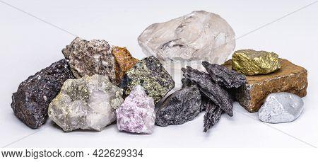 Gold, Silver, Rough Diamonds, Bauxite, Pyrolusite, Galena, Pyrite, Chromite, Lepidolite, Chalcopyrit