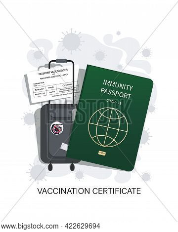 Vaccination Certificate. Baggage. Safe Travel. Immunity Document. Covid 19 Immunity Symbol Sign.