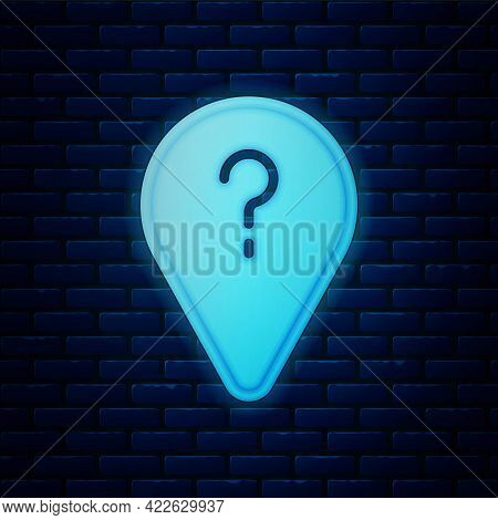 Glowing Neon Unknown Route Point Icon Isolated On Brick Wall Background. Navigation, Pointer, Locati
