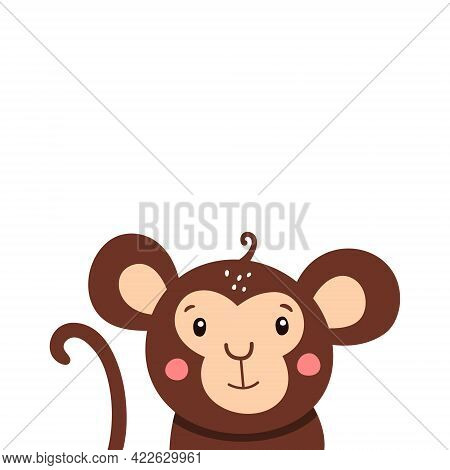 Cute Monkey Icon. Vector Illustration Isolated On A White Background