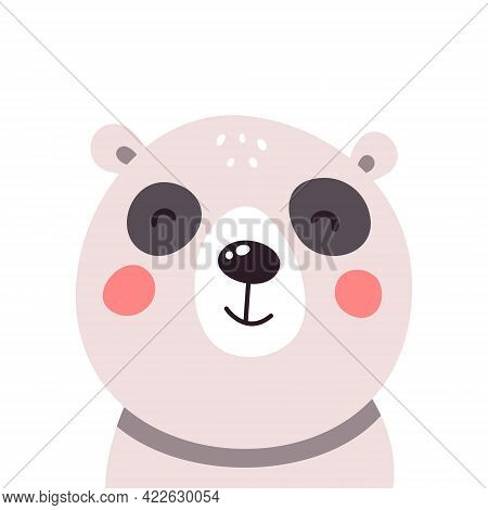 Cute Panda Face On White Isolated Background. Vector Illustration
