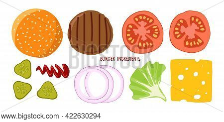 Set Of Product For Burger. Hamburger Creation Product Kit Isolated On White. Chopped Vegetables, Bun