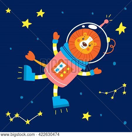 Animals In Space. Vector Illustration On A Blue Background