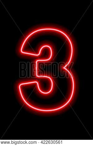 Neon Red Number 3 On Black Background. Learning Numbers, Serial Number, Price, Place.