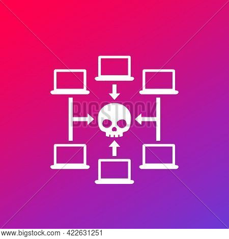 Computer Virus Or Malware Attack Vector Icon
